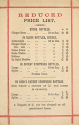 Advert for Western & Wolland, mineral water manufacturer, reverse side